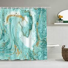 qinco duschvorhang marmor türkis und goldene farben auf