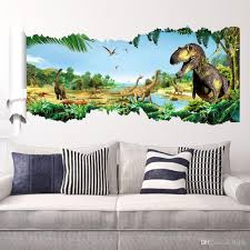 Cartoon 3D Dinosaur Wall Sticker For Boys Room Child Art Decor Decals ZY1460 Stickers Kids Online With