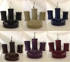 Red Bath Rug Set by 4pc Ceramic Bath Accessory Set Beige Burgundy Black Purple Brown