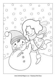 Building A Snowman Colouring Page