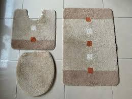 3 tlg badgarnitur badezimmer dusch bade matte teppich wc