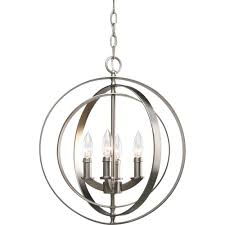 Home Depot Canada Dining Room Light Fixtures by Progress Lighting Equinox Collection 4 Light Burnished Silver Orb