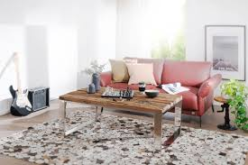 design couchtisch 120 x 50 x 70 cm massiv holz sofatisch mit metallgestell wohnzimmertisch rechteckig massivholz braun holztisch modern