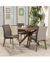 Baxton Studio Kimberly Mid Century Round Dining Table Chair 5 Piece Set