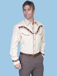 scully mens tan embroidered ls cowboy shirt