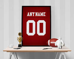 San Francisco 49ers Sports Jersey Art Print Football Poster Kids Decor Home