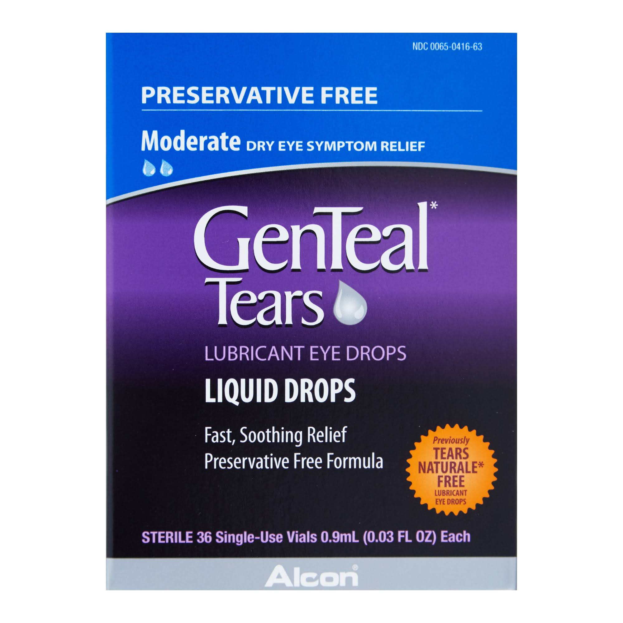 GenTeal Tears Lubricant Eye Drops Single Use, 36 Vials
