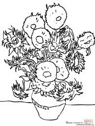 Coloriage Tournesols Par Vincent Van Gogh Coloriages à Imprimer
