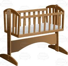 An Old Fashioned Rocking Baby Crib With Mattress Cartoon Clipart