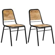 Amazon.com - VidaXL 2X Solid Mango Wood Dining Chairs Brown ... Intercon Solid Mango Wood Ding Set Kona Inka4278bset Drift Table 4 Grey Chairs Vidaxl 6 Pcs For Sale In Uk Preloved Fresh Italian White Cafe Logo Fabric Rosen Chair Available Raw Or Hand Painted Of 2 100 Natural 6seater With Bench Metal 2019 Home Sweet Butterfly Room Topbathroomco Jaipur Dakota Walnut Geneva Pair Kubu Rattan And