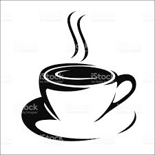 Black and white clip art of steaming coffee in a mug royalty free black and