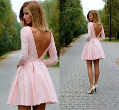 low back long sleeves short pink prom dresses bateau lace