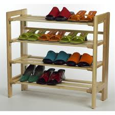 Attracctive Design Of Best Outdoor Shoe Rack Idea With Four Storages Made Wooden Material In
