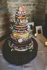 Naked Cake Log Victoria Sponge Flowers Cream Berries Rustic Coral Barn Wedding