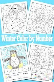 Winter Color By Number Worksheets Free Printable Numbers