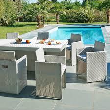 salon de jardin tresse gris avec table et chaise mobilier leroy
