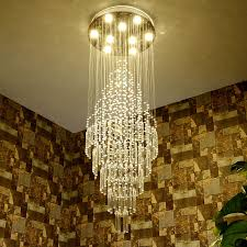 Crystal Drops For Chandeliers Stairwell Chandelier Chrome Finish Long Dining Room High Ceiling