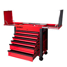 100 Service Truck Tool Drawers 6Drawer Slide Top Cart With Power Strip Red Sunex S