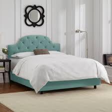 Bekkestua Headboard Standard Bed Frame by Skyline Furniture Tufted Bed In Velvet Caribbean By Skyline