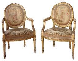 louis xvi chair antique pair of louis xvi style gilt aubusson armchairs
