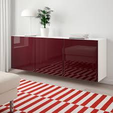 bestå schrankkombination für wandmontage weiß selsviken hochglanz dunkel rotbraun 180x42x64 cm