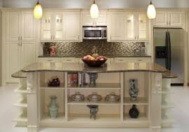 Image Of Basement Kitchen Design With Cream Wooden Cabinet Island Marble Top Combined Breathtaking Country