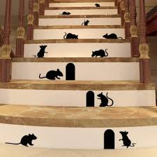1 stücke kreative lustige schwarze maus loch wand aufkleber ratte loch wand aufkleber schlafzimmer wohnzimmer mäuse auf der bühne wand