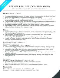 Resume Examples With Server Experience Together Restaurant