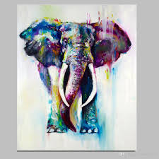 Multi Color Modern Cute Elephant Artwork Handmade Painting On Canvas With DIY Frame Ready To Hang 16x24Hinch