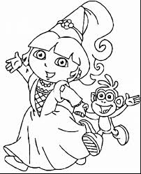 Marvelous Dora Princess Coloring Pages Printable With Page And To Print