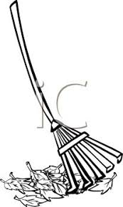 Picture of a Rake and a Pile of Leaves In a Vector Clip Art Illustration Royalty Free Clipart Illustration