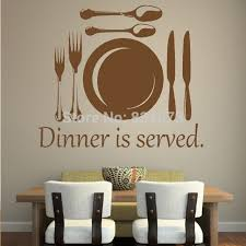 Hot Dinner Is Served Cutlery Quote Wall Art Sticker Decal DIY Home Decoration Decor Mural
