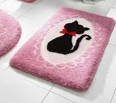 badematte mit katze pink rosa schwarz rot bad teppich neu