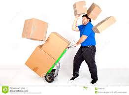 Man Moving Boxs With A Hand Truck. Stock Image - Image Of Labeled ...