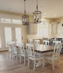 Perfect Farmhouse Dining Room Chair Masterly Pic On Charming Brown Rectangle Rustic Wooden Table Lighting Idea