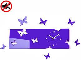 flexistyle große moderne wanduhr schmetterling lila heidelbeere querformat 20 x 60 cm 3d diy wohnzimmer schlafzimmer kinderzimmer