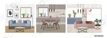 stock vector moderne trendige innenarchitektur flachen stil set schlafzimmer wohnzimmer küche vektorillustration
