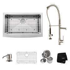 Kraus Kitchen Faucets Canada by Kraus All In One Farmhouse Apron Front Stainless Steel 33 In