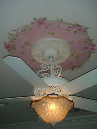 Shabby Chic Ceiling Fans by Hand Painted Roses With Green Vines On Ceiling White Victorian