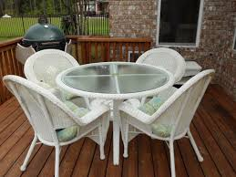 Image Of White Wicker Patio Furniture Set