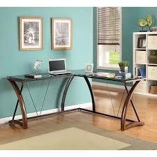 whalen newport wood glass l shaped desk black glass desktop