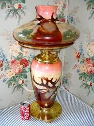 Fenton Fairy Lamp Insert by Jumbo C 1910 Pittsburgh Gwtw Parlor Banquet Lamp Elk U0026 Mountains