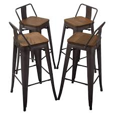 YongQiang 30 Inch Metal Bar Stools Set Of 4 Kitchen Counter Height Stools  With Low Back Wood Seat Rusty Why We Dont Sell Suar Wood Ding Room Chair Wooden Chairs Buy Chair Remarkable Oak Bar Stools With Backs Premium Padded Rumba Side Chair 400 15 Inexpensive That Look Cheap Amazoncom Muju 30 Low Back Metal With Kitchen Arms High Living Fniture Muji Wikipedia Outstanding Counter Height 21 Comfortable Modern For Viewing Nerihu 750 Solo Product