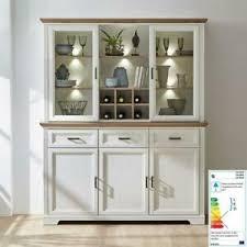 details zu landhaus buffet esszimmerschrank pinie weiß eiche led vitrinen schrank highboard