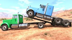 100 Semi Tow Truck BeamNG Drive Rollback Transporting A Off Road
