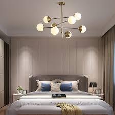 pendelleuchte milchglas kugel design in gold für schlafzimmer