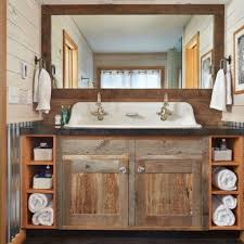 Rustic Bathtub Tile Surround by Antique Brass Pendant Light Vanity Mirrored Medicine Cabinet