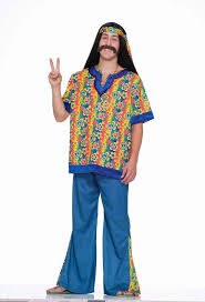 Far Out Man Dude 60s Hippie Flower Child Fancy Dress Up Halloween Adult Costume