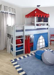 This Boys Bedroom In Nice Grey Blue And Red Tones Doubles As A Fun Playroom