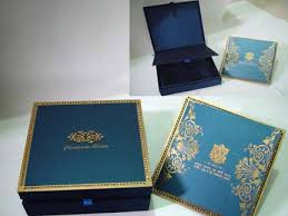 Exclusive Wedding Invitations Square Blue Gold Luxurious Floral Pattern Invitation Card With Box Cards